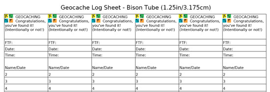 Geocaching Log Sheet Bison Tube