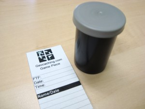 1.5 inch FTF Geocache Log Sheet with black logo